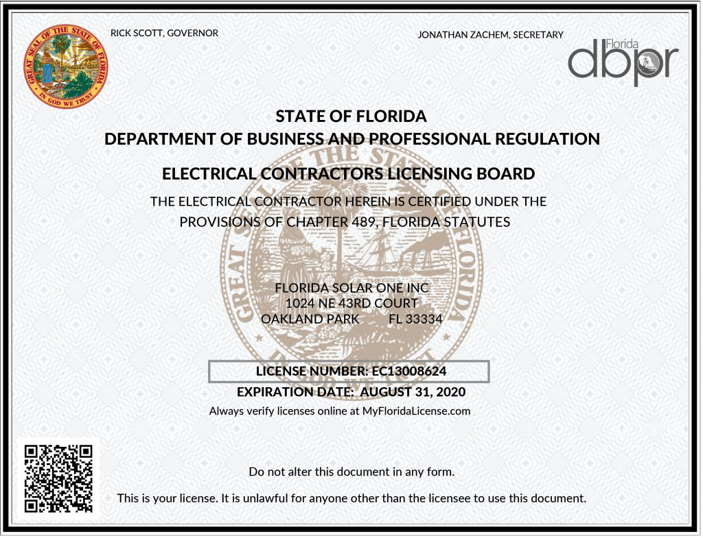 Florida Solar One Becomes An Unlimited Electrical Contractor